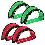 REYOK 2 Paar Pedal Straps, Fahrrad Füße Strap Bike Strap für Fixed Gear Bike, Einfache Installatio Rot + Grün