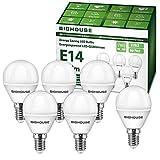 E14 LED Lampe P45, 5W 400 Lumen 3000 Kelvin Warmweiß Ersatz für 40W Halogenlampen, 270° Abstrahlwinkel, Tropfenform, CRI80, 220-240V AC, 6 Stück