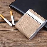 TIANYOU Edelstahl-Zigarettenetui Vertikale Abschnitt Ultradünne Tragbare Zigaretten-Box Business-Geschenk Bietet Platz Für 20 Fall Für Zigaretten Geschenke für Männer/Beige / 95X8