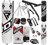 RDX Boxsack Set Gefüllt MMA Kickboxen Muay Thai Boxen mit wandhalterung Stahlkette Training Handschuhe Kampfsport Schwer Punchingsack Gewicht 4FT 5FT 17PC Punching Bag (MEHRWEG)