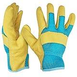 Navaris 1 Paar M Gartenhandschuhe aus Leder - für Damen und Herren - Robuste Arbeitshandschuhe Handschuhe für Garten Werkstatt Baustelle - Gelb