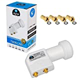 Twin LNB LNC 2 Teilnehmer Direkt Quattro Switch Full HD TV 3D 4K UHD + Kontakte vergoldet + Wetterschutz (ausziehbar) in HB DIGITAL Set mit 4 F-Stecker vergoldet GRATIS dazu