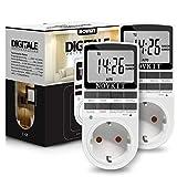 2x NOVKIT digitale Zeitschaltuhr Steckdose mit 10 konfigurierbaren wöchentlichen Programme und einbruchsicheren Zufallsfunktion für Lampe und Innen (230V / 16A / 3680W)