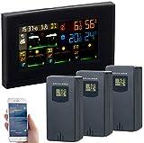 infactory Außenthermometer WLAN: WLAN-Funk-Wetterstation mit 3 Außensensoren, Farbdisplay, Uhr und App (WLAN Thermometer außen)