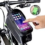 snawowo Fahrrad Rahmentasche wasserdichte Fahrradtasche Oberrohrtasche Handytasche mit Sonnenblende Kopfhörerloch TPU Touchscreen Fahrrad Handyhalter für Smartphones bis 6.0 Zoll