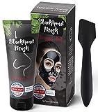 Premium Blackhead Mask By Summer Foot Black Edtion I Dermatologisch getestet I XXL Packung 100 ml + Spatel I Aktivkohle Peel Off Mask entfernt Mitesser