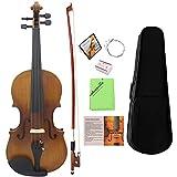ammoon Violin 4/4 Geige Voll Größe Matt Fertig Fichte Gesicht Board Ebenholz Griffbrett 4-saitiges Instrument mit Koffer Bow Kolophonium Saubere Kleidung