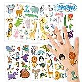O-Kinee Tattoo Kinder, Tier Glitzer Temporäre Tattoos Kinder Aufkleber Sticker Set Kindertattoos Schablonen für Mädchen Jungen Kindergeburtstag Geschenktüten Mitgebsel, Party, Festival
