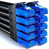 deleyCON 10x 0,25m CAT6 Netzwerkkabel Set - U-UTP RJ45 CAT-6 LAN Kabel Patchkabel Ethernetkabel DSL Switch Router Modem Repeater Patchpanel - Schwarz
