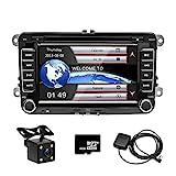 camecho Doppel DIN 17,8 cm Auto CD DVD Player GPS Sat Nav Stereo Touchscreen Autoradio für VW / Passat / Golf / Transporter T5 + 4 LED Mini Kamera Night Vision