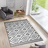 Wendeteppich Ethno In- & Outdoorteppich Webteppich Sisal-Optik Flachgewebe modern, Größe:140x200 cm, Farbe:grau/Creme