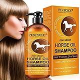 Haarshampoo, Haarpflege Shampoo, Horse Oil Shampoo, Haarwachstums Shampoo, Anti-Haarverlust Shampoo,Effektiv gegen Haarausfall, Natürliche Haarpflege für glänzendes Haar vom Ansatz bis in die Spitzen