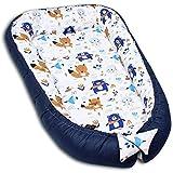 PALULLI 120x60 cm Babynest Babynestchen XXL Babykokon, 2seitig, 100% Baumwolle, Kissen, Nestchen für Babybett, Kuschelnest, Reisebett für Baby und Säuglinge (BEARS)
