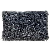 CelinaTex Shetland Dekokissen 40 x 80 cm grau Flokati Optik Zierkissen Langhaar Sofakissen Kunstfell Kissen