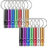Irich 14 Stücke Aluminiumlegierung Sport Pfeife, Whistle Trillerpfeife mit Schlüsselringe für Halle Sportplatz Fußball Überleben Sicherheits (Zufällige Farbe)