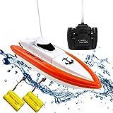 Rabing Ferngesteuertes Boot RC Boot für Pools und Seen - HY800 Rennboote 2.4 GHz 15 km/H Hochgeschwindigkeits-Fernbedienungsboot für Kinder Erwachsene Jungen Mädchen (Funktioniert nur im Wasser)