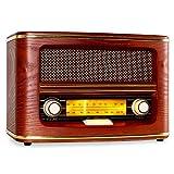 auna Belle Epoque 1905 - Nostalgie Radio mit integriertem Breitbandlautsprecher, Retro Radio, UKW, MW-Tuner, Frequenzbandskala, Lautstärke-, Frequenzregler, Holzgehäuse, rot-braun
