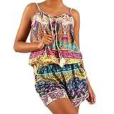 Young-Fashion Damen Jumpsuit Overall Shorts Einteiler Alloverprint, Farbe:Türkis;Größe:One Size