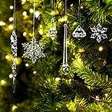 Christbaumschmuck Eiszapfen Anhänger 67 Stück Weihnachtsbaumschmuck Acryl Eiszapfen Deko,Schneeflocke Hänge Eiszapfen,Weihnachtsbaum Eiszapfen Schneeflocke Ornamente Set Für Hängen Weihnachtsdeko