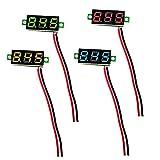 IZOKEE 4 Stück 0,28 Zoll Mini Digital Voltmeter LED-Anzeige, Messbereich DC 2,5V-30V Zwei-Draht Spannungsprüfer, 4 Farben: Rot/Gelb/Grün/Blau