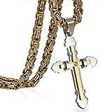 JewelryWe Schmuck Herren Anhänger Halskette Edelstahl Zirkonia Kreuz Kreuzanhänger mit 65cm königskette Kette Gold Silber