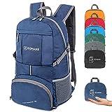 ZOMAKE 35L Ultraleicht Faltbarer Wanderrucksack, Multi-Funktionaler Stopfbarer Wasserdichter Casual Camping Tagesrucksack für Outdoor-Sport Klettern Bergsteiger (Marineblau)