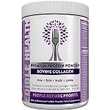 Hydrolysierte Collagen Protein, Peptide Pulver - starke Knochen, Muskeln, Gelenkschmerzen, Falten, Gesundes Haar, Nägel, Haut, Undichten Magen, 20 x Mehr + 15 x billiger als Kapseln, Geschmacklos