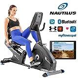 Nautilus Liegerad R626 mit PMS-Magnetbremssystem Liege-ergometer, Bluetooth, kompatibel mit RideSocial, drahtlose Herzfrequenzmessung, Bluebacklit DualTrack-Display, max. Benutzergewicht 136 kg