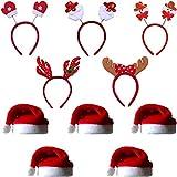 COSORO 5 Stück Unisex Weihnachtsmann Hüte 40 x 30 cm Weihnachtsmütze und 5 Stück Weihnachts Kopf Boppers Xmas Stirnbänder Weihnachten Santa Party Festliche Familie Hüte Geschenk für Erwachsene/Kinder