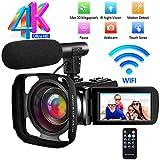 Camcorder Videokamera Ultra HD 4K Camcorder Full HD IR Nachtsichtkamera WiFi Vlogging Kamera mit Externem Mikrofon und Gegenlichtblende