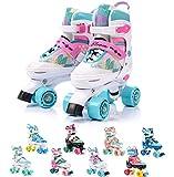 meteor® Retro Rollschuhe: Disco Roller Skate wie in den 80er Jahren, Jugend Rollschuhe, Kinder Quad Skate, Farbvarianten - Bloom
