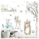Little Deco Aufkleber Waldtiere & Bär I Baumgröße 39 x 99 cm (BxH) I Baum Hase Sterne Wandsticker Kinder Wandtattoo Kinderzimmer Baby Deko Babyzimmer DL505