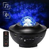Delicacy LED Sternenlicht Projektor, Rotierende Wasserwellen Projektionslampe, Ferngesteuerte Nachtlichter, Farbwechsel Musikspieler mit Bluetooth & Timer, für Kinder Erwachsene Zimmer Dekoration