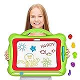 Geekper Magnetische Maltafel, 41 x 33 x 3 cm Groß Löschbare Bunte Magna Doodle,Zaubermaltafel Schreiben Skizzenblock,Zaubertafel Kinder ab 2 Jahre,mit 5 Form Briefmarken, Grün