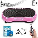 Display4top Ultraflache Vibrationsplatte, 5 Programs + 180 Levels, Vibrationstrainer für Fitness und Gewichtsverlust, Mit Bluetooth Lautsprecher, Maximale Belastung 150 kg (Rosa)