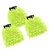 com-four® 3X Waschhandschuh für Auto und Haushalt - Microfaser-Handschuh - Chenille Handschuh - Autopflege - Autowäsche, 22 x 16 cm (003 Stück - neongrün)