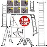 4.7M Leiter Mehrzweckleiter mit Plattform 4x4 Sprossen Klappleiter Gelenkleiter Kombileiter 6 in 1 Anlegeleiter Stehleiter 150kg Belastbarkeit Leiter