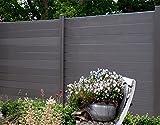 terrasso WPC/BPC Sichtschutzzaun Dark Grey 6 Zäune inkl. 7 Pfosten Sichtschutz Gartenzaun Zaun