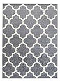 We Love Rugs - Carpeto Orientalisches Marokkanisches Teppich - Flor Modern Designer Muster - Wohnzimmer Schlafzimmer Esszimmer - Hell Grau Weiß - 140 x 190 cm