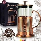 Le Flair® French Press für 1 Liter Kaffee - Tee Presskanne aus Glas mit Kupfer ummantelt - Kaffeebereiter inkl. Kupfer Design Verpackung - Pressstempelkanne für Kaffeezubereitung - Kaffeeaufbereiter