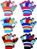 SATINIOR 6 Paare Kinderwinter Gestrickte Streifenhandschuhe Niedliche Volle Fingerhandschuhe, 2-7 Jahre alt