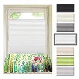 Atlaz Easyfix Plisseerollo Faltrollo ohne Bohren Klemmfix für Fenster 40x130cm (BxH) Weiß Plissee Rollo Jalousie Fensterrollo mitKlemmträger für Fenster und Tür