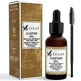Kaltgepresstes Bio Rizinusöl pflegt und spendet Feuchtigkeit für Haare, Wimpern und Augenbrauen - 100% reines Bio-Rizinusöl ohne Füll- oder Zusatzstoffe mit Wimpernbürste
