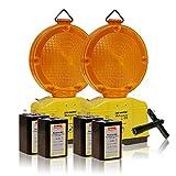 LED-MARTIN® 2er Sparset Warnleuchte - gelb - automatische TAG/Nachtschaltung - Blinklicht - Warnleuchten - Baustellenleuchte - Straßenbau - Absicherung - Straßenverkehr - Absperrtechnik