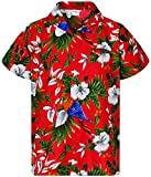 King Kameha Funky Hawaiihemd, Kurzarm, Cherryparrot New, Rot, L