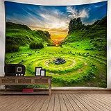 omnihabits Wandteppich, Wandtuch, Tapisserie, Tagesdecke, Wandbehang mit hoch detailliertem Druck (Keltischer Steinkreis, 150 x 200 cm)