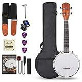 Vangoa Banjolele 4 Saiten 58,4 cm (23 Zoll) Banjo-Ukulele Sapele Holz Konzert Banjo mit Anfänger Kits, Benutzerhandbuch
