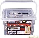 Connex Universalschrauben 5,0 x 70 mm - 160 Stück im Set - Senkkopf - TX Torx-Antrieb - Teilgewinde - Gelb verzinkt / Schrauben-Set / Schrauben-Eimer / B30195