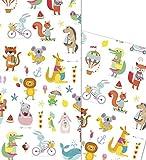 ArtUp.de 5 Bögen Geschenkpapier mit fröhlichen bunten Tieren für tolle Geschenke - Kindergeburtstag Geburt Baby Shower Party - DIY Bastelbögen stabile Qualität Bogengröße DIN A2 (42 x 59 cm)
