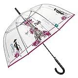 Transparent Regenschirm Damen Paris mit Tour Eiffel - Durchsichtiger Schirm Kuppel Förmigen Rosa Pink Details - Stockschirm Automatik Modisch Elegant mit Rosen - Durchmesser 89 cm - Perletti Time